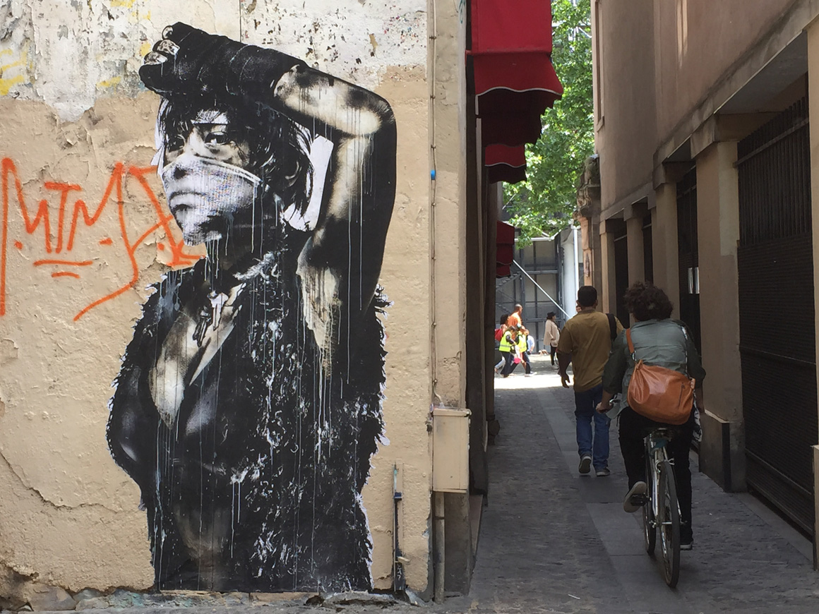 Eddie Colla wheat paste street art in Paris